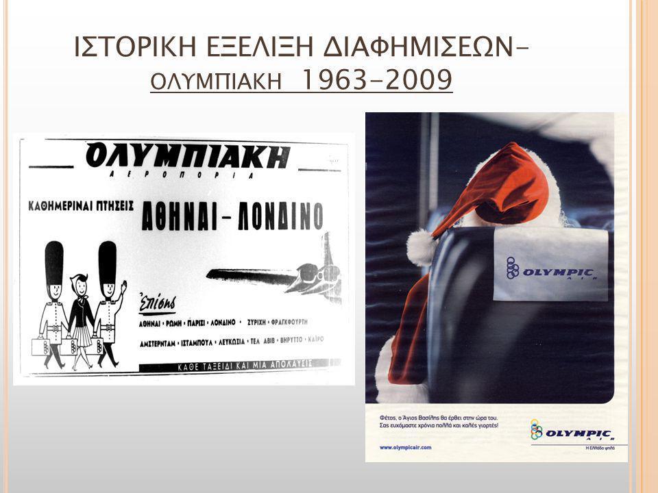 ΙΣΤΟΡΙΚΗ ΕΞΕΛΙΞΗ ΔΙΑΦΗΜΙΣΕΩΝ-ολυμπιακη 1963-2009