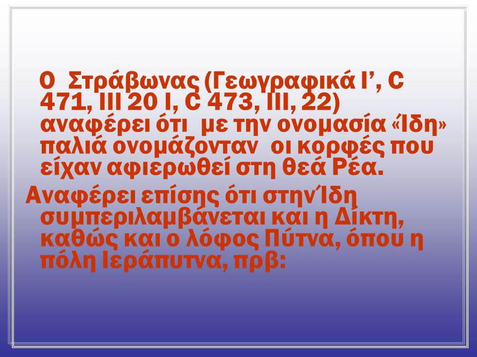 Ο Στράβωνας (Γεωγραφικά Ι', C 471, ΙΙΙ 20 Ι, C 473, ΙΙΙ, 22) αναφέρει ότι με την ονομασία «Ίδη» παλιά ονομάζονταν οι κορφές που είχαν αφιερωθεί στη θεά Ρέα.