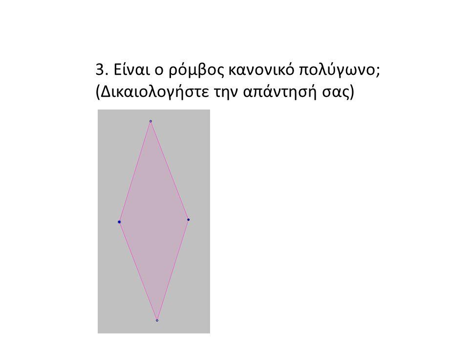 3. Είναι ο ρόμβος κανονικό πολύγωνο;
