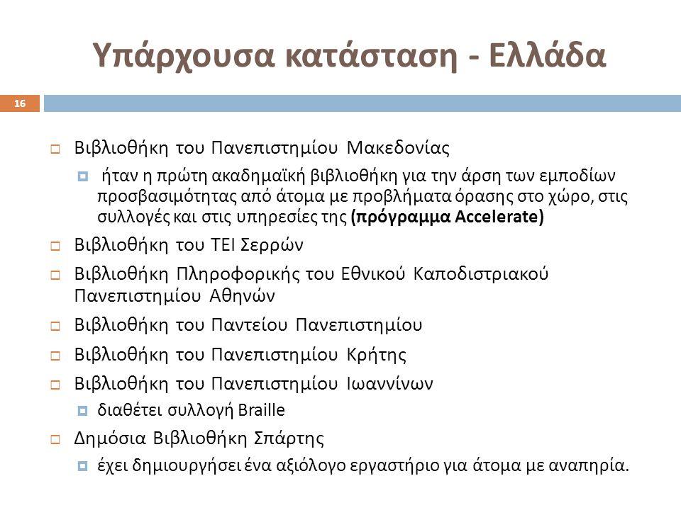 Υπάρχουσα κατάσταση - Ελλάδα