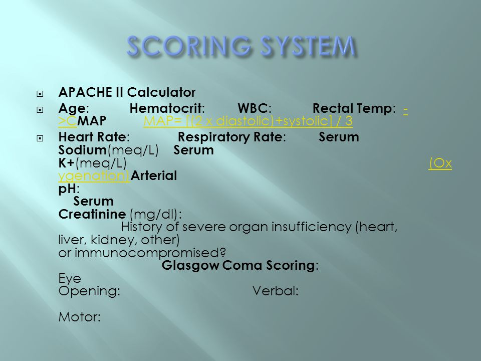 SCORING SYSTEM APACHE II Calculator