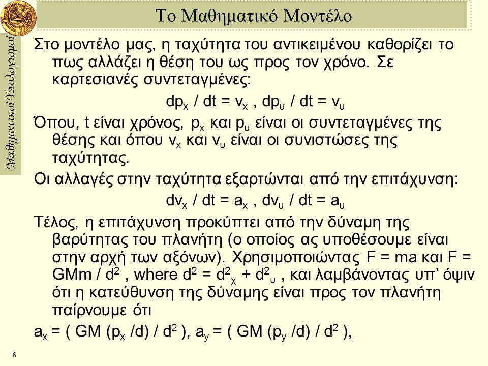 Το Μαθηματικό Μοντέλο