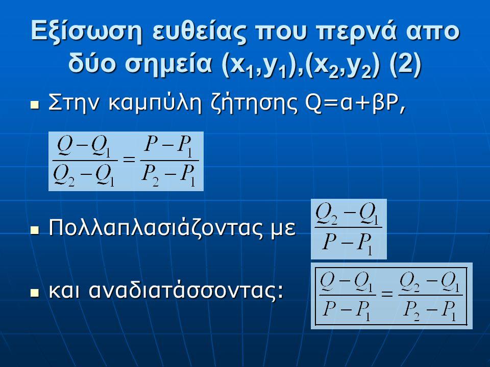 Εξίσωση ευθείας που περνά απο δύο σημεία (x1,y1),(x2,y2) (2)