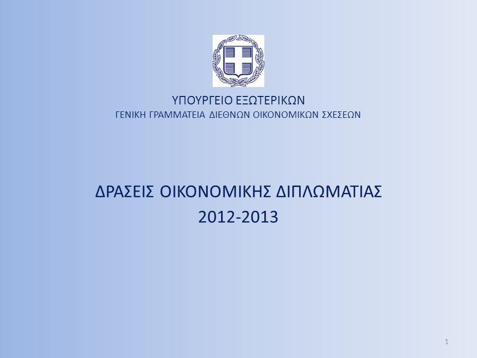 ΔΡΑΣΕΙΣ ΟΙΚΟΝΟΜΙΚΗΣ ΔΙΠΛΩΜΑΤΙΑΣ 2012-2013