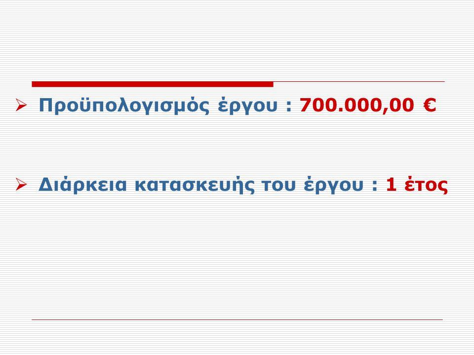 Προϋπολογισμός έργου : 700.000,00 €
