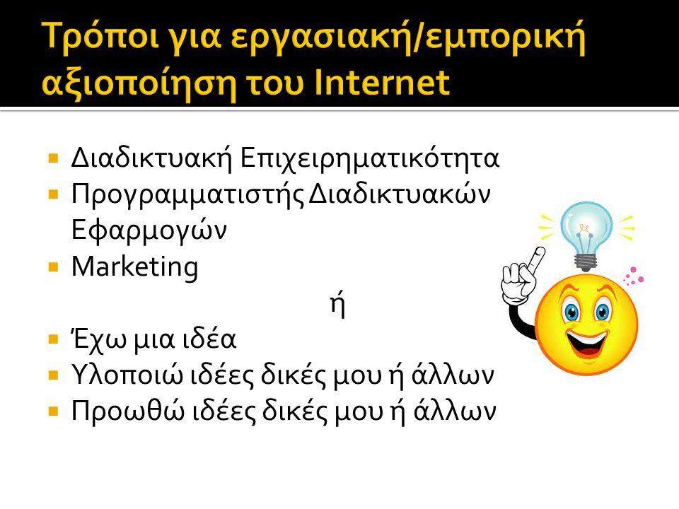 Τρόποι για εργασιακή/εμπορική αξιοποίηση του Internet