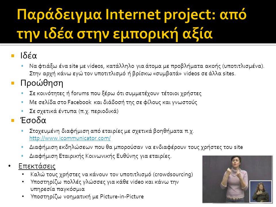 Παράδειγμα Internet project: από την ιδέα στην εμπορική αξία