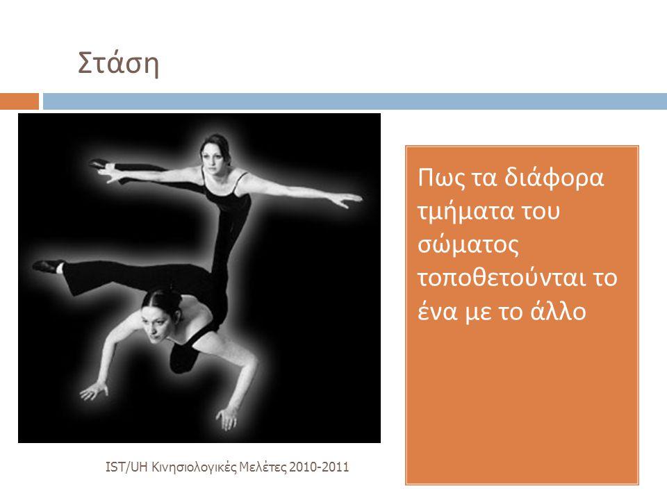 Στάση Πως τα διάφορα τμήματα του σώματος τοποθετούνται το ένα με το άλλο.