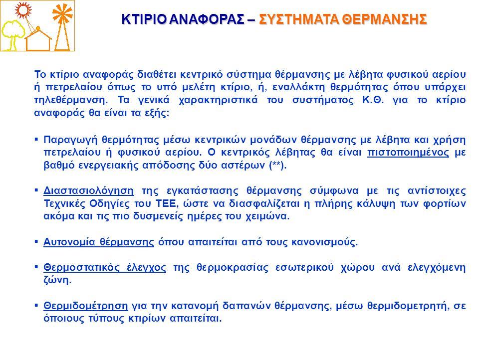 ΚΤΙΡΙΟ ΑΝΑΦΟΡΑΣ – ΣΥΣΤΗΜΑΤΑ ΘΕΡΜΑΝΣΗΣ