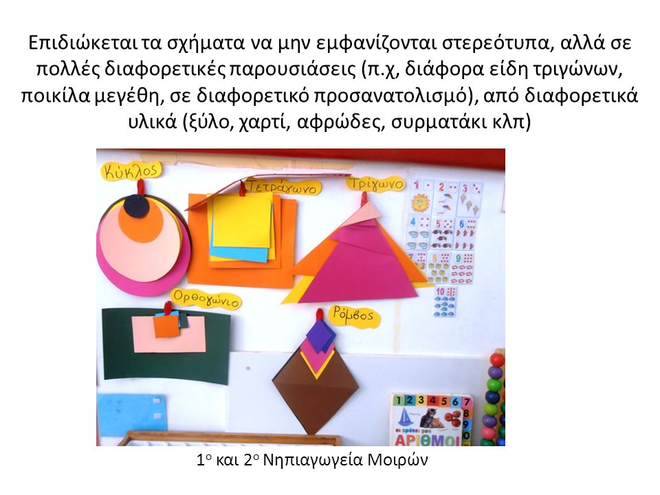 Επιδιώκεται τα σχήματα να μην εμφανίζονται στερεότυπα, αλλά σε πολλές διαφορετικές παρουσιάσεις (π.χ, διάφορα είδη τριγώνων, ποικίλα μεγέθη, σε διαφορετικό προσανατολισμό), από διαφορετικά υλικά (ξύλο, χαρτί, αφρώδες, συρματάκι κλπ)
