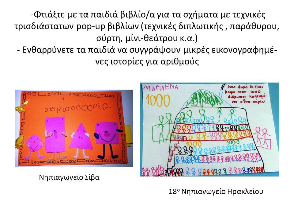 -Φτιάξτε με τα παιδιά βιβλίο/α για τα σχήματα με τεχνικές τρισδιάστατων pop-up βιβλίων (τεχνικές διπλωτικής , παράθυρου, σύρτη, μίνι-θεάτρου κ.α.) - Ενθαρρύνετε τα παιδιά να συγγράψουν μικρές εικονογραφημέ-νες ιστορίες για αριθμούς