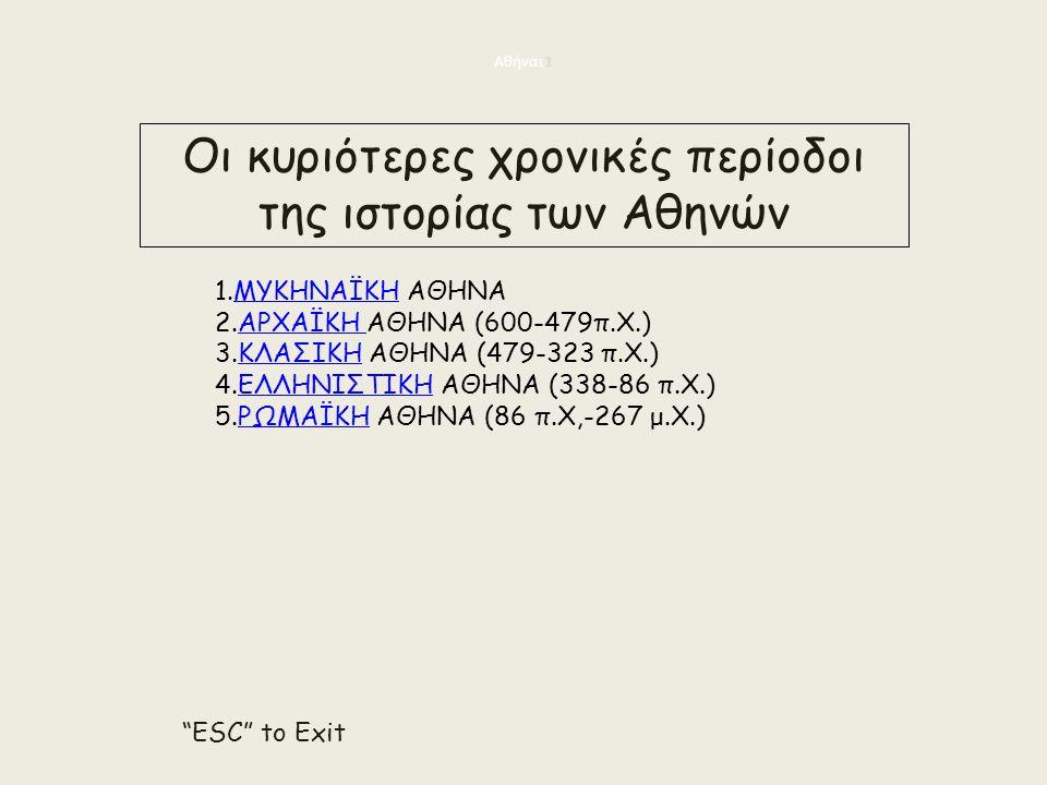 Οι κυριότερες χρονικές περίοδοι της ιστορίας των Αθηνών