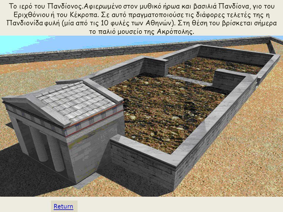 Το ιερό του Πανδίονος.Αφιερωμένο στον μυθικό ήρωα και βασιλιά Πανδίονα, γιο του Εριχθόνιου ή του Κέκροπα. Σε αυτό πραγματοποιούσε τις διάφορες τελετές της η Πανδιονίδα φυλή (μία από τις 10 φυλές των Αθηνών). Στη θέση του βρίσκεται σήμερα το παλιό μουσείο της Ακρόπολης.