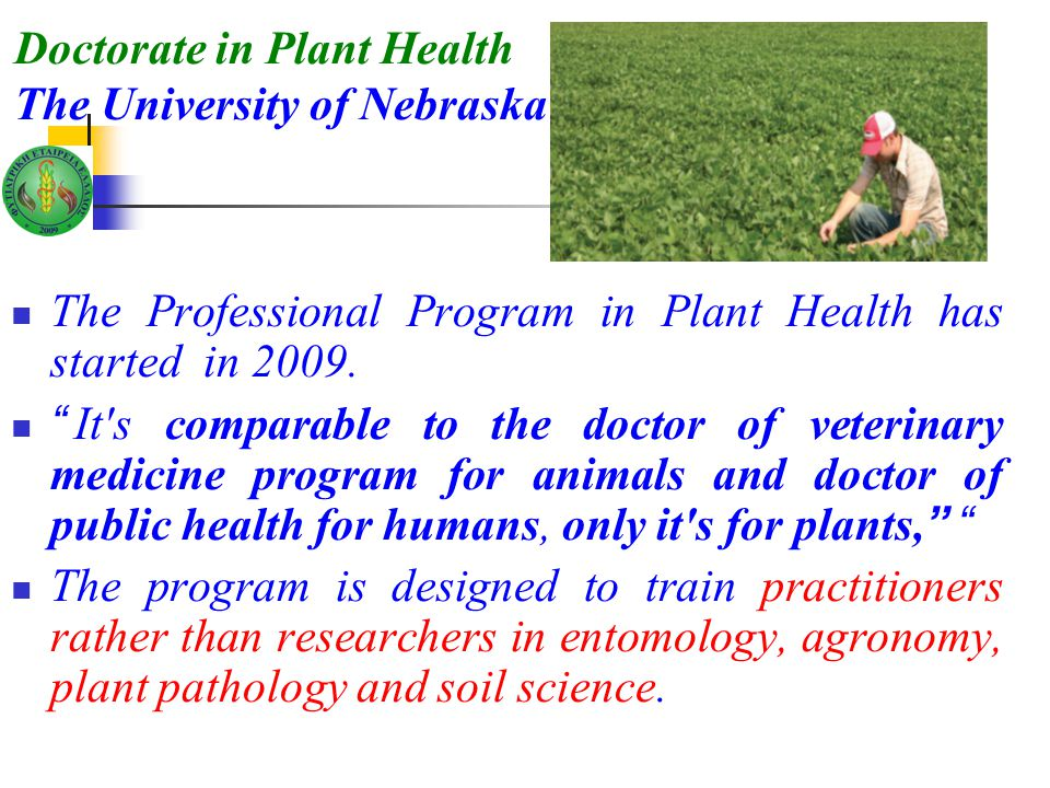 Doctorate in Plant Health