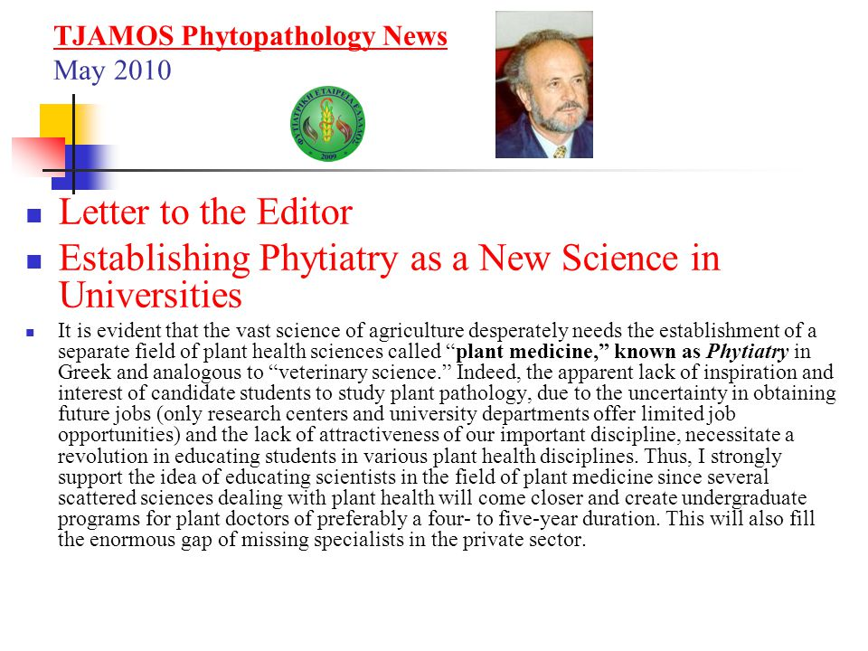 TJAMOS Phytopathology News May 2010