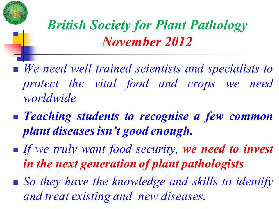 British Society for Plant Pathology November 2012