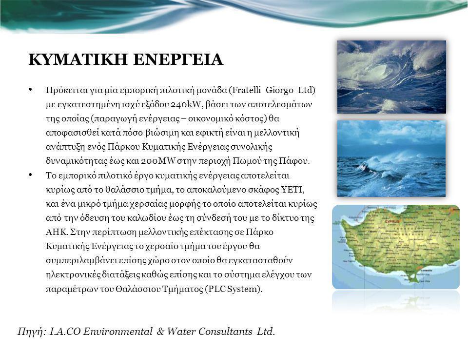 ΚΥΜΑΤΙΚΗ ΕΝΕΡΓΕΙΑ Πηγή: I.A.CO Environmental & Water Consultants Ltd.