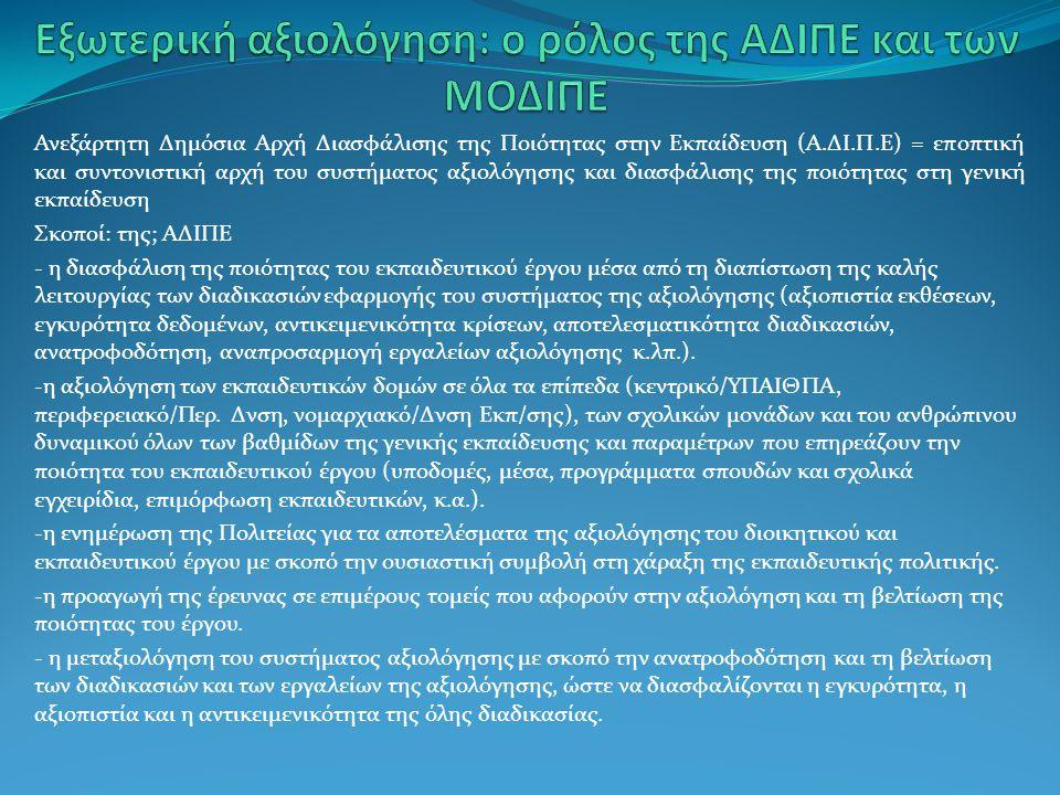 Εξωτερική αξιολόγηση: ο ρόλος της ΑΔΙΠΕ και των ΜΟΔΙΠΕ