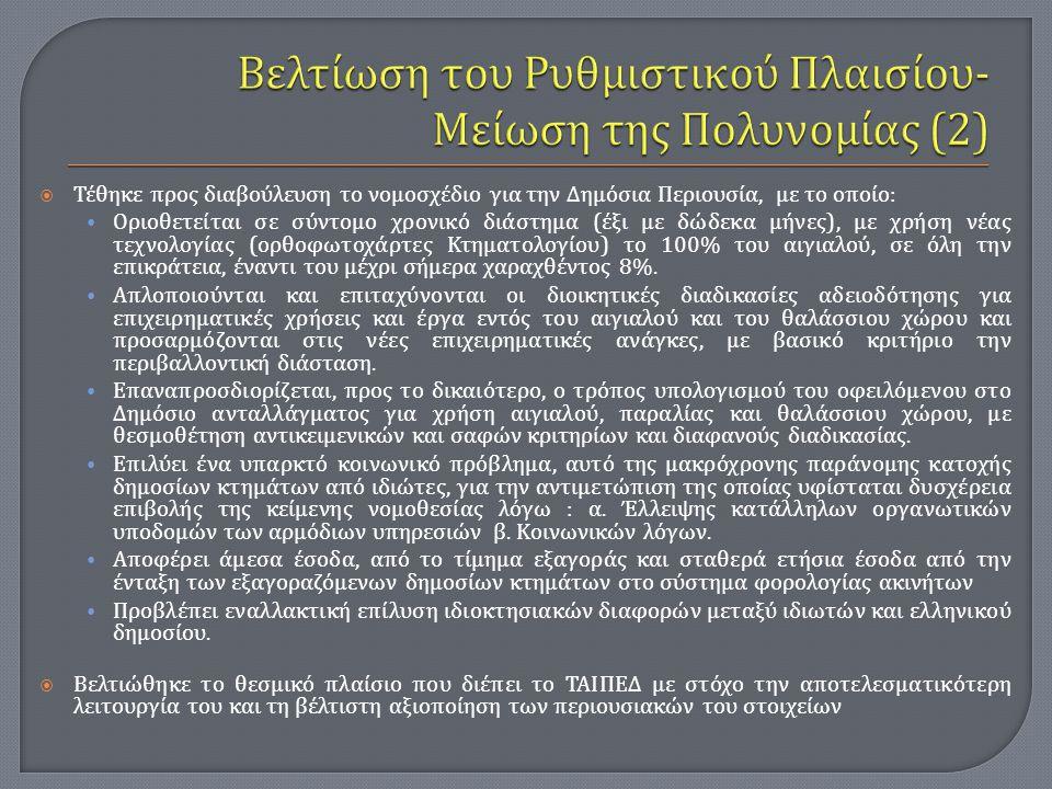 Βελτίωση του Ρυθμιστικού Πλαισίου- Μείωση της Πολυνομίας (2)