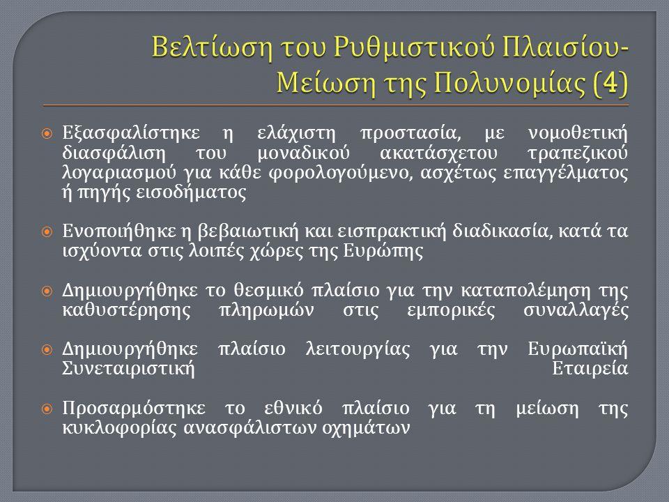 Βελτίωση του Ρυθμιστικού Πλαισίου- Μείωση της Πολυνομίας (4)