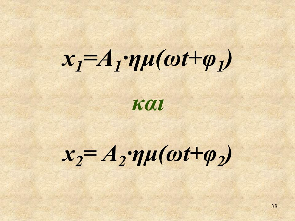 x1=Α1·ημ(ωt+φ1) και x2= Α2·ημ(ωt+φ2)
