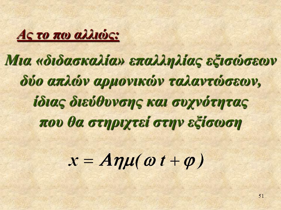 Ας το πω αλλιώς: Μια «διδασκαλία» επαλληλίας εξισώσεων δύο απλών αρμονικών ταλαντώσεων, ίδιας διεύθυνσης και συχνότητας.