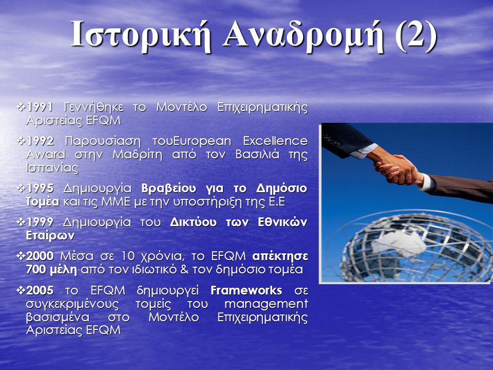 Ιστορική Αναδρομή (2) 1991 Γεννήθηκε το Μοντέλο Επιχειρηματικής Αριστείας EFQM.
