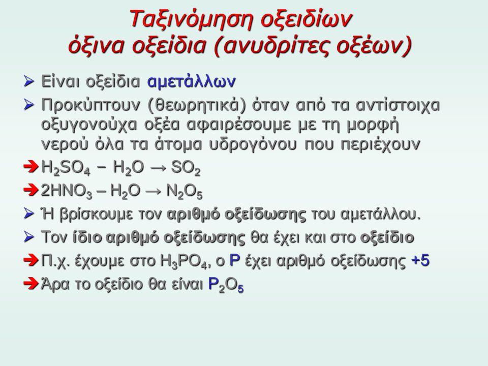 Ταξινόμηση οξειδίων όξινα οξείδια (ανυδρίτες οξέων)