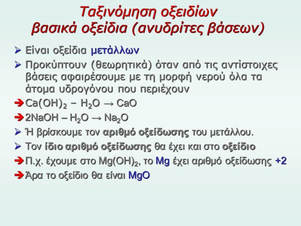 Ταξινόμηση οξειδίων βασικά οξείδια (ανυδρίτες βάσεων)