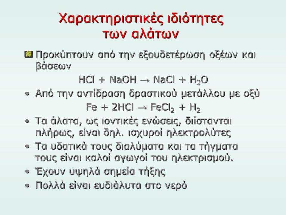Χαρακτηριστικές ιδιότητες των αλάτων
