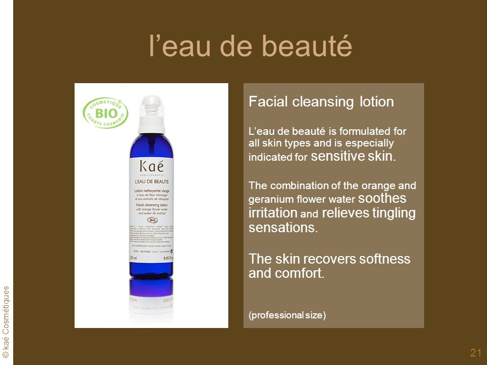 l'eau de beauté Facial cleansing lotion