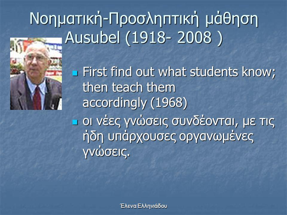 Νοηματική-Προσληπτική μάθηση Ausubel (1918- 2008 )