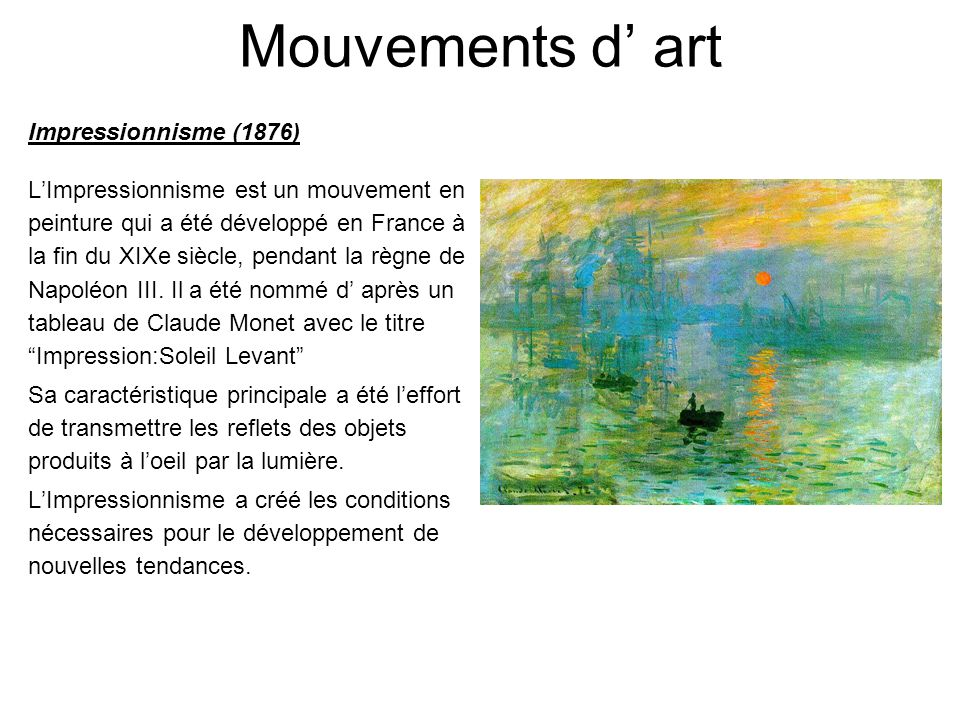 Mouvements d' art Impressionnisme (1876)