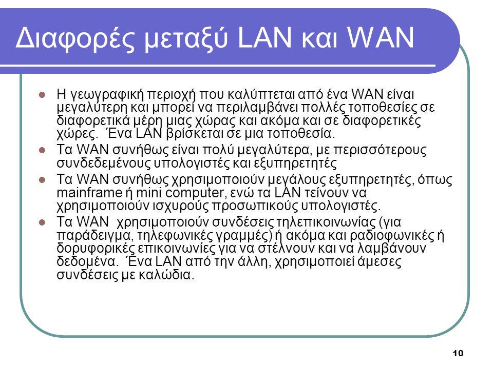 Διαφορές μεταξύ LAN και WAN
