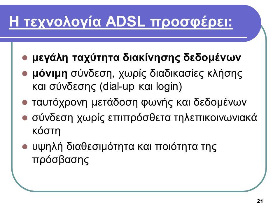 Η τεχνολογία ADSL προσφέρει: