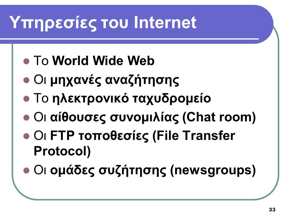 Υπηρεσίες του Internet