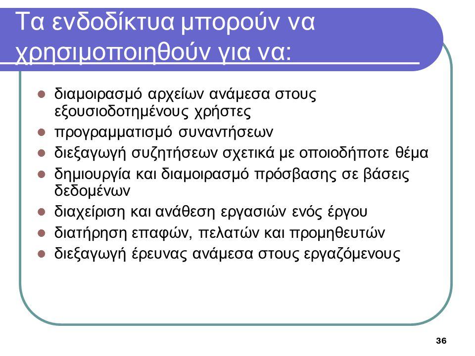 Τα ενδοδίκτυα μπορούν να χρησιμοποιηθούν για να: