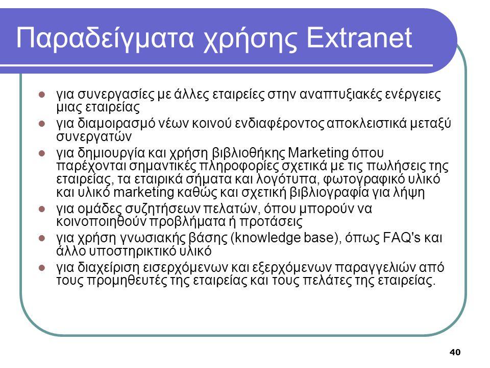 Παραδείγματα χρήσης Extranet