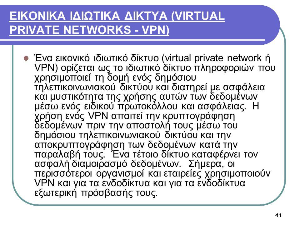 ΕΙΚΟΝΙΚΑ ΙΔΙΩΤΙΚΑ ΔΙΚΤΥΑ (VIRTUAL PRIVATE NETWORKS - VPN)