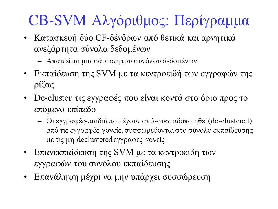 CB-SVM Αλγόριθμος: Περίγραμμα