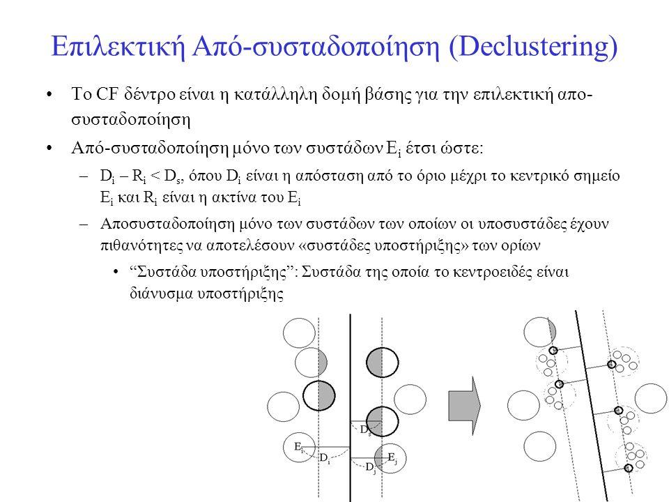 Επιλεκτική Από-συσταδοποίηση (Declustering)