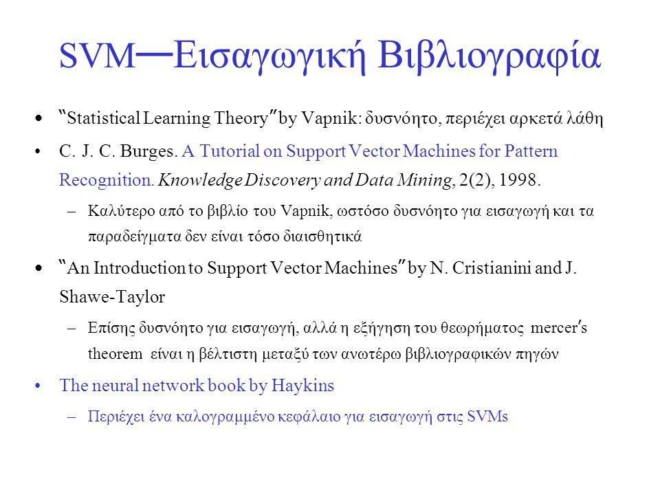 SVM—Εισαγωγική Βιβλιογραφία