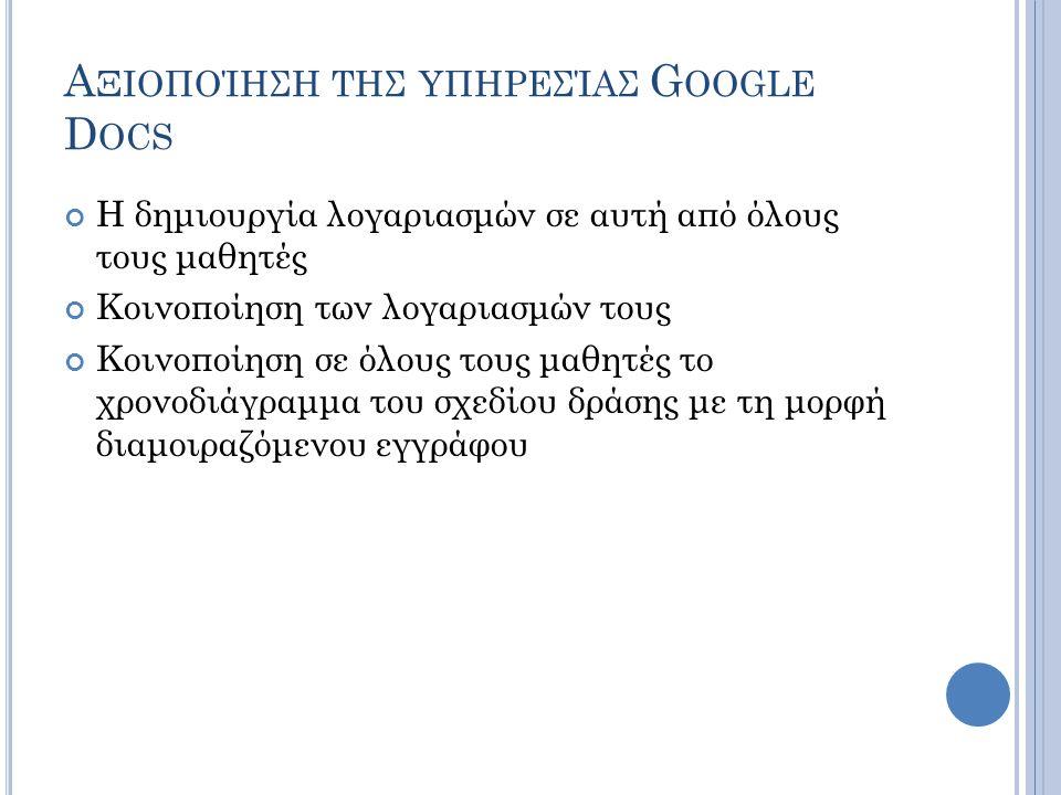 Αξιοποίηση της υπηρεσίας Google Docs