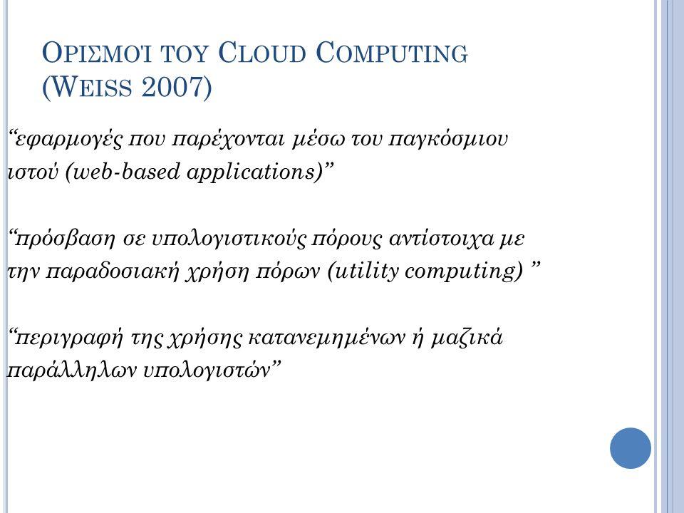 Ορισμοί του Cloud Computing (Weiss 2007)