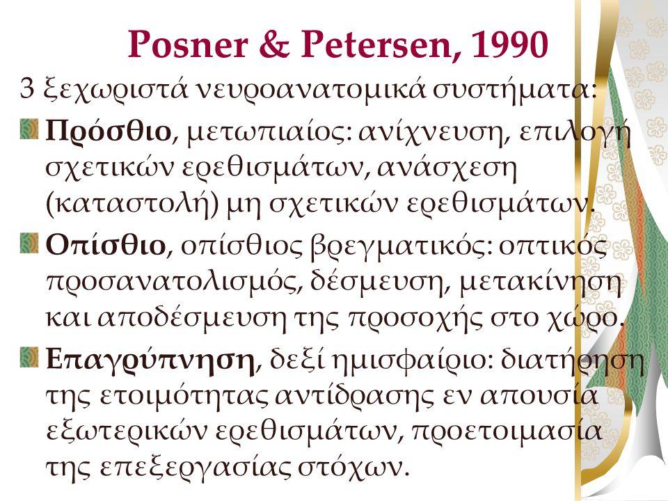 Posner & Petersen, 1990 3 ξεχωριστά νευροανατομικά συστήματα: