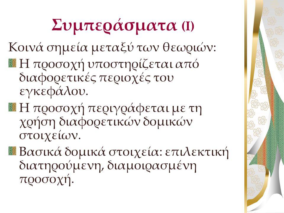 Συμπεράσματα (Ι) Κοινά σημεία μεταξύ των θεωριών: