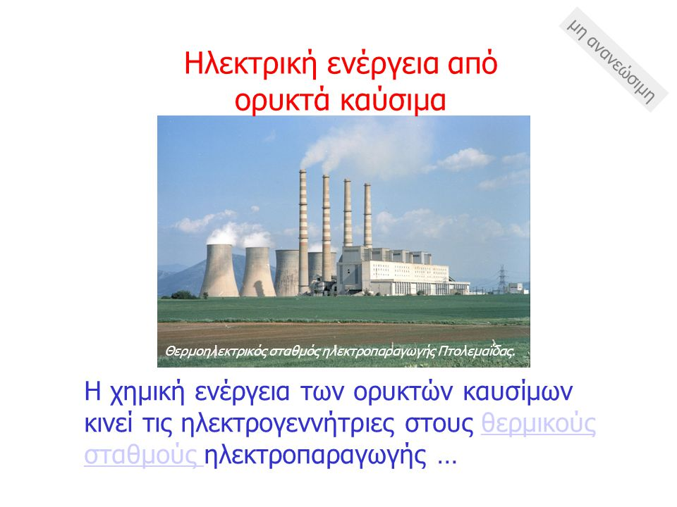 Ηλεκτρική ενέργεια από ορυκτά καύσιμα