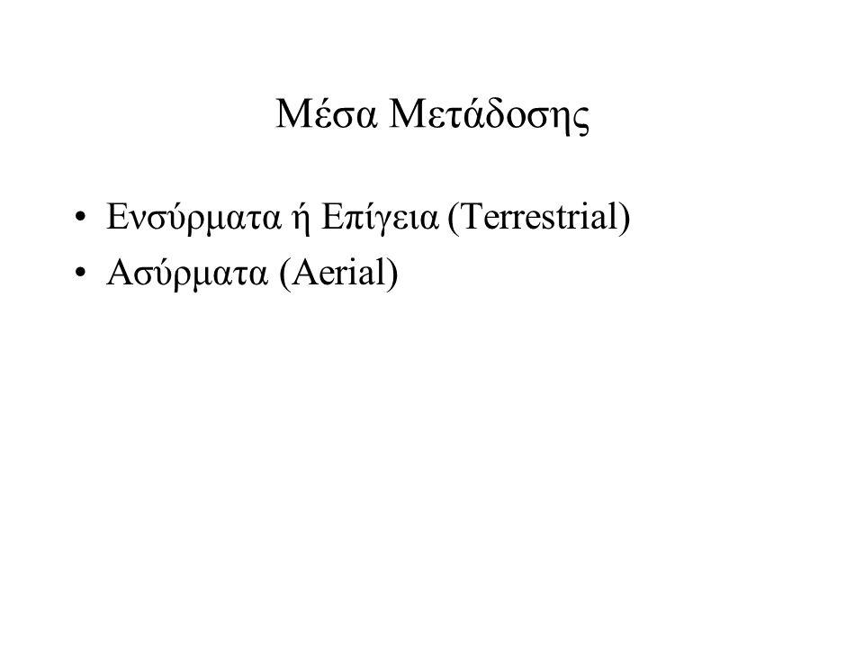 Μέσα Μετάδοσης Ενσύρματα ή Επίγεια (Terrestrial) Ασύρματα (Aerial)