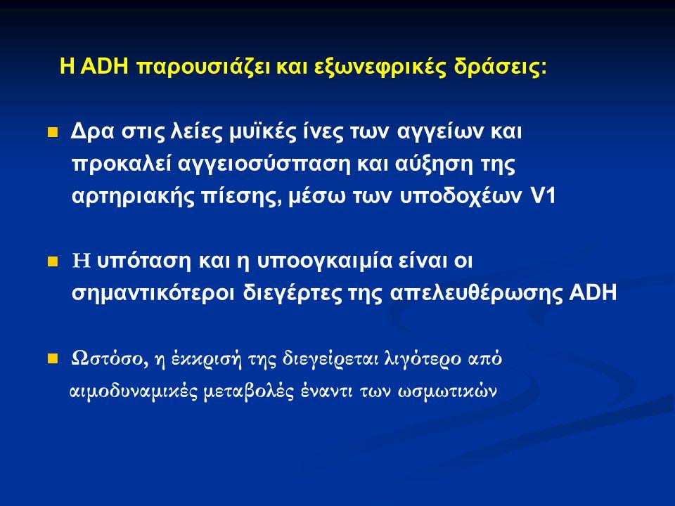Η ADH παρουσιάζει και εξωνεφρικές δράσεις: