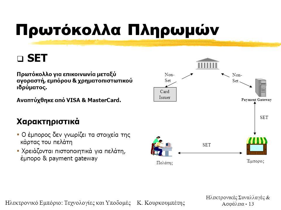 Πρωτόκολλα Πληρωμών SET Χαρακτηριστικά
